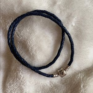 Pandora Navy Leather Cord Double Length Bracelet